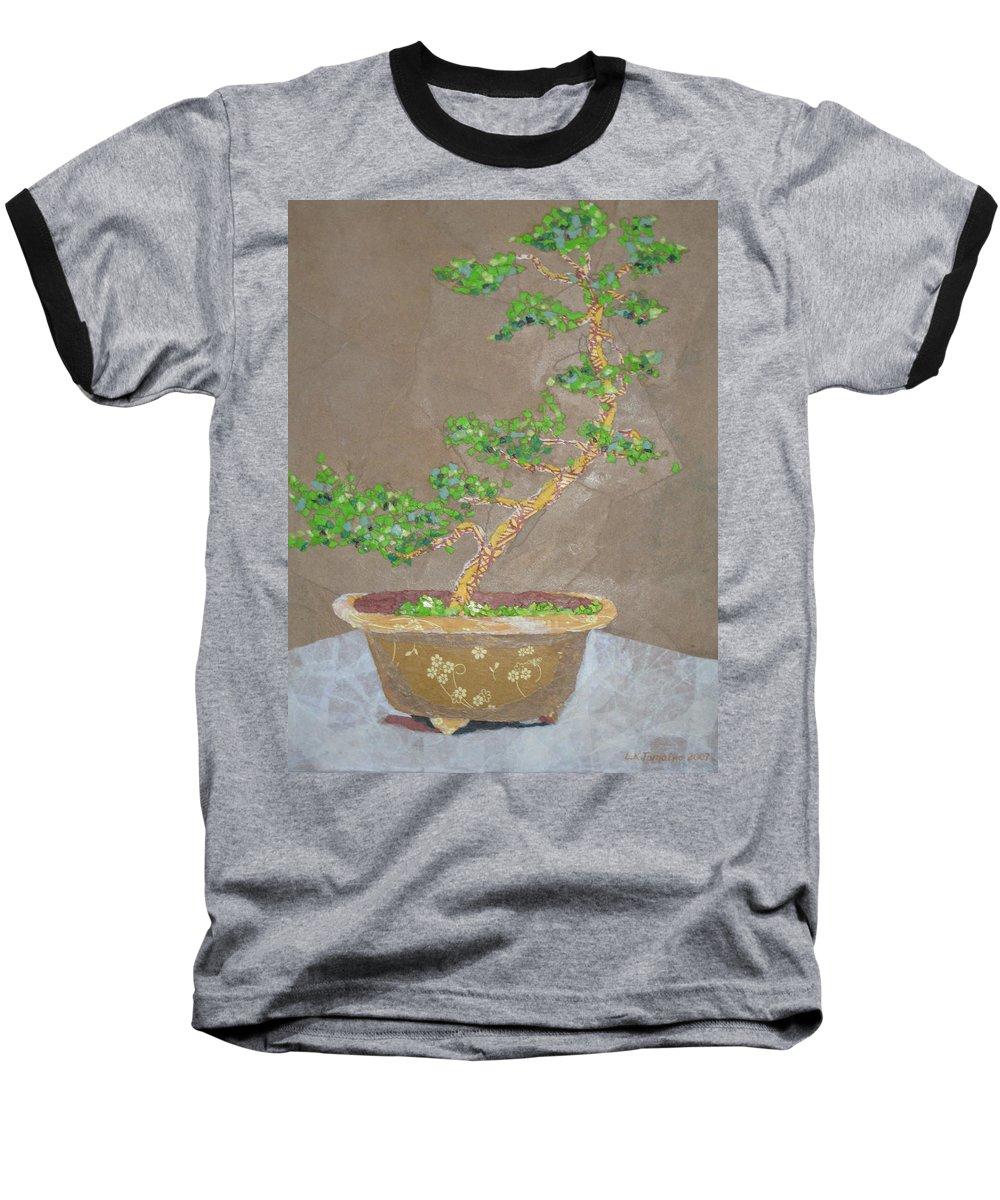 Banzai Tree Baseball T-Shirt featuring the painting Windswept Juniper by Leah Tomaino