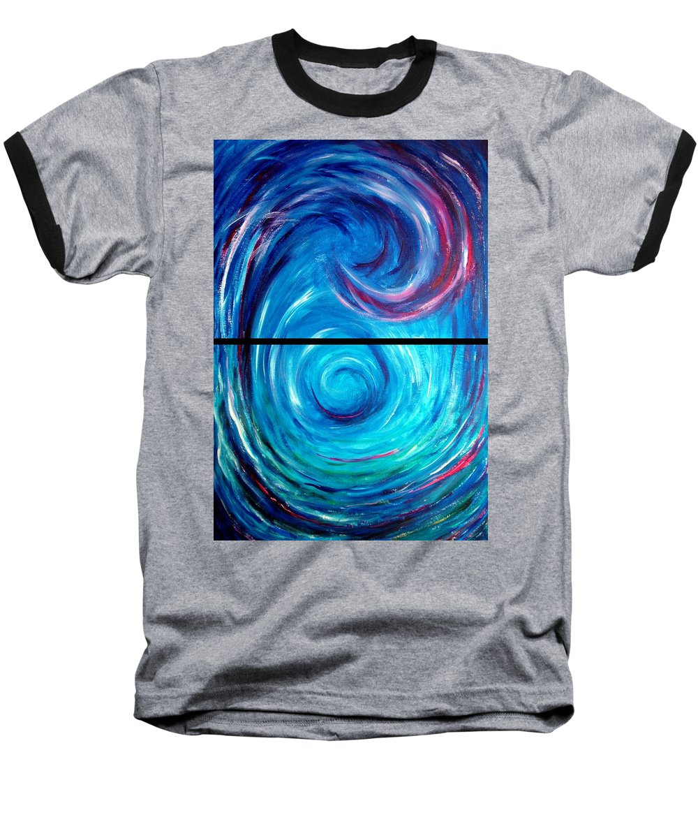 Blue Baseball T-Shirt featuring the painting Windwept Blue Wave And Whirlpool Diptych 1 by Nancy Mueller