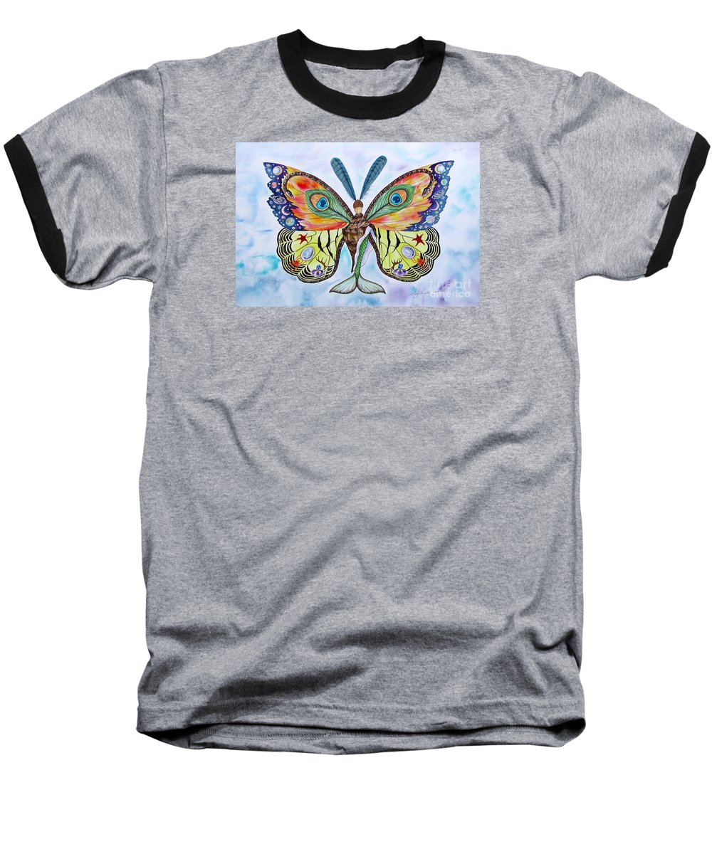 Butterfly Baseball T-Shirt featuring the painting Winged Metamorphosis by Lucy Arnold
