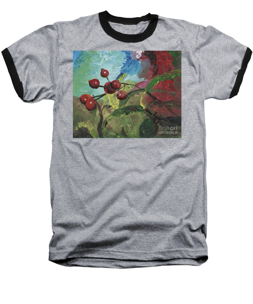 Berries Baseball T-Shirt featuring the painting Winter Berries by Nadine Rippelmeyer
