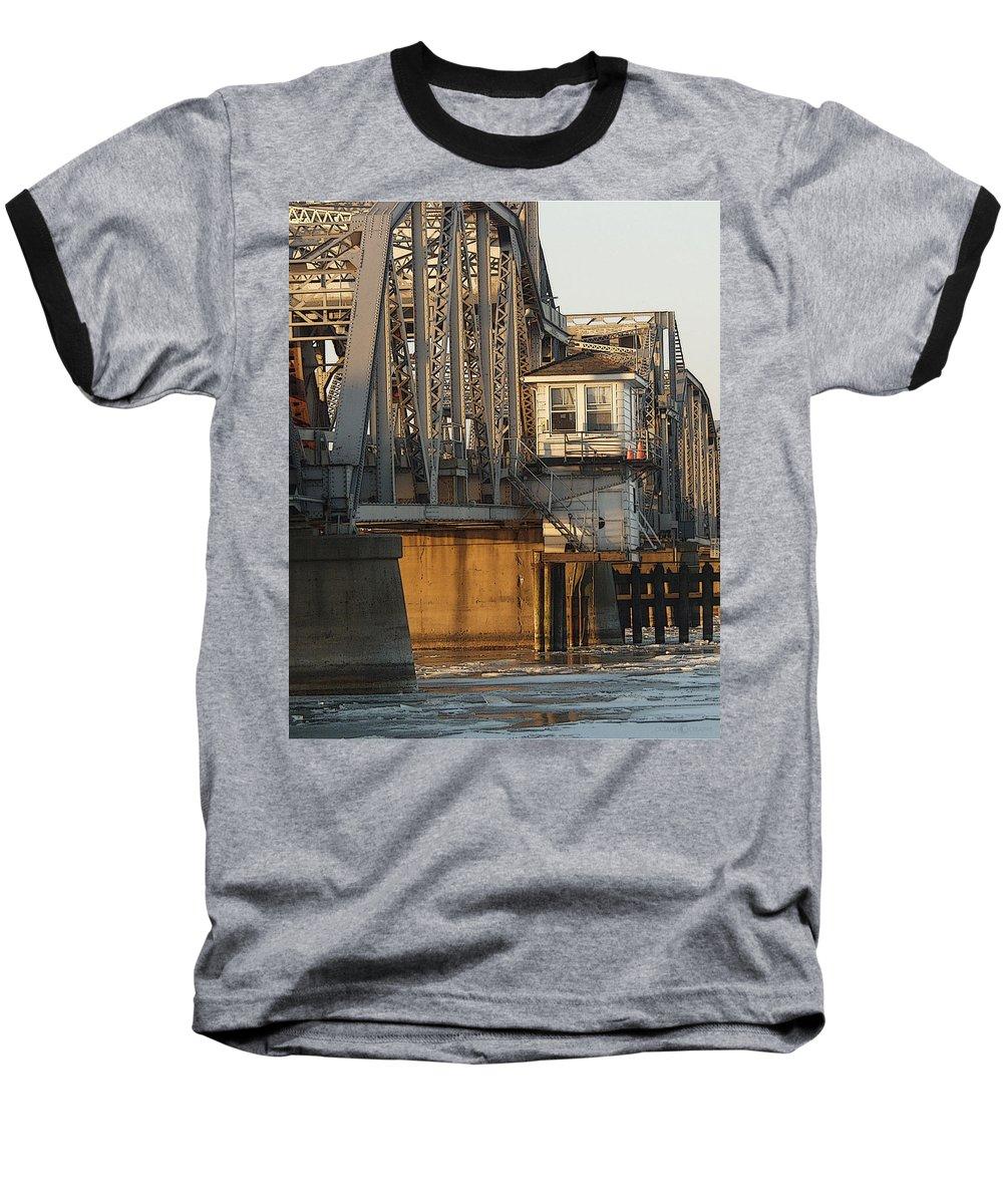 Bridge Baseball T-Shirt featuring the photograph Winter Bridgehouse by Tim Nyberg