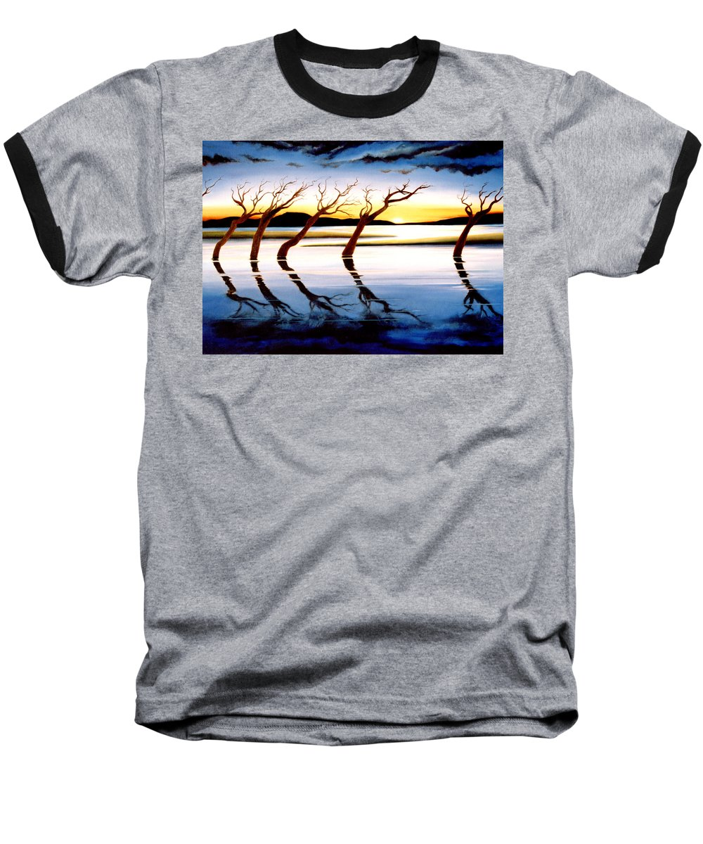 Seascape Baseball T-Shirt featuring the painting Winter Heatwave by Mark Cawood