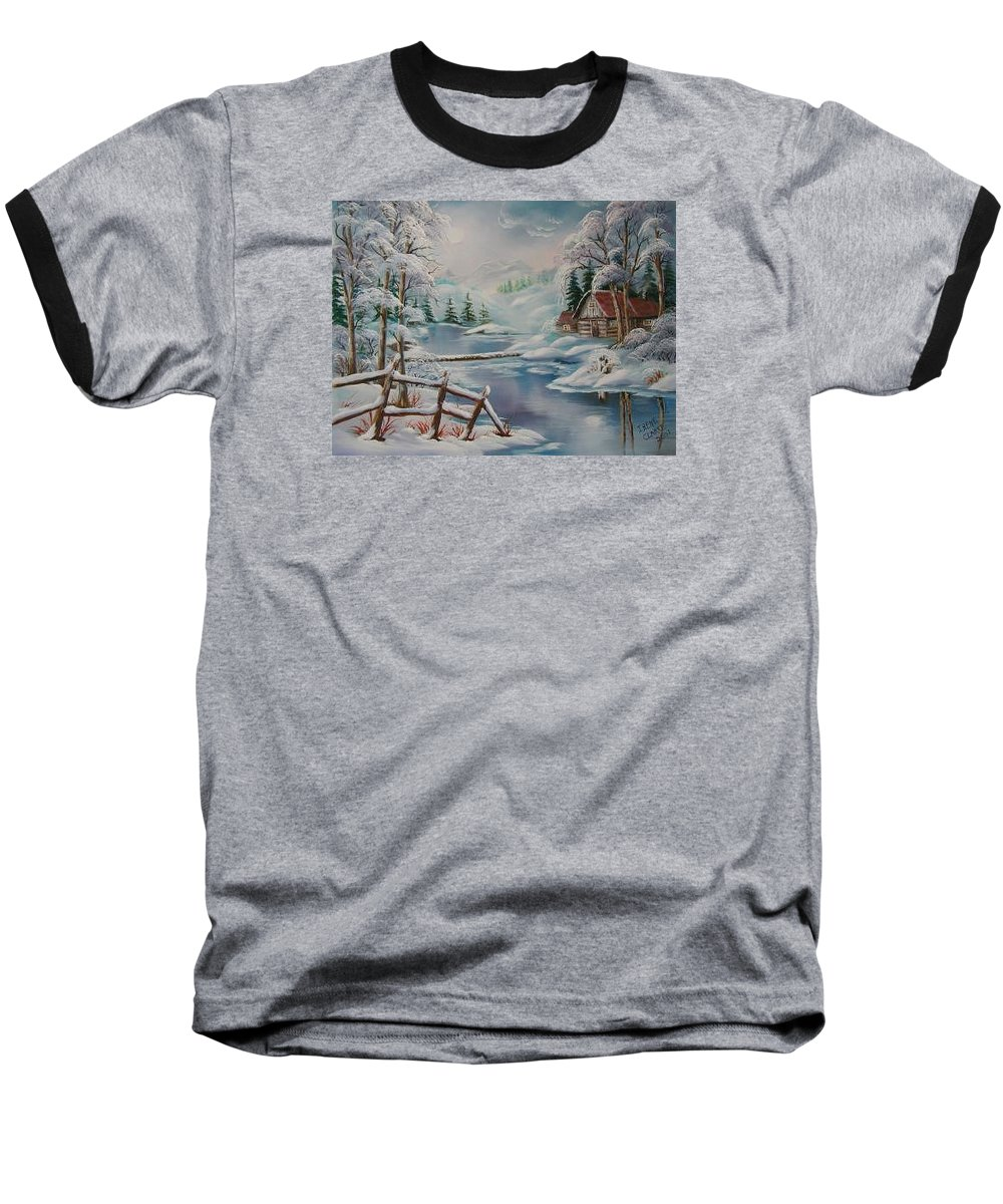 Winter Scapes Baseball T-Shirt featuring the painting Winter In The Valley by Irene Clarke