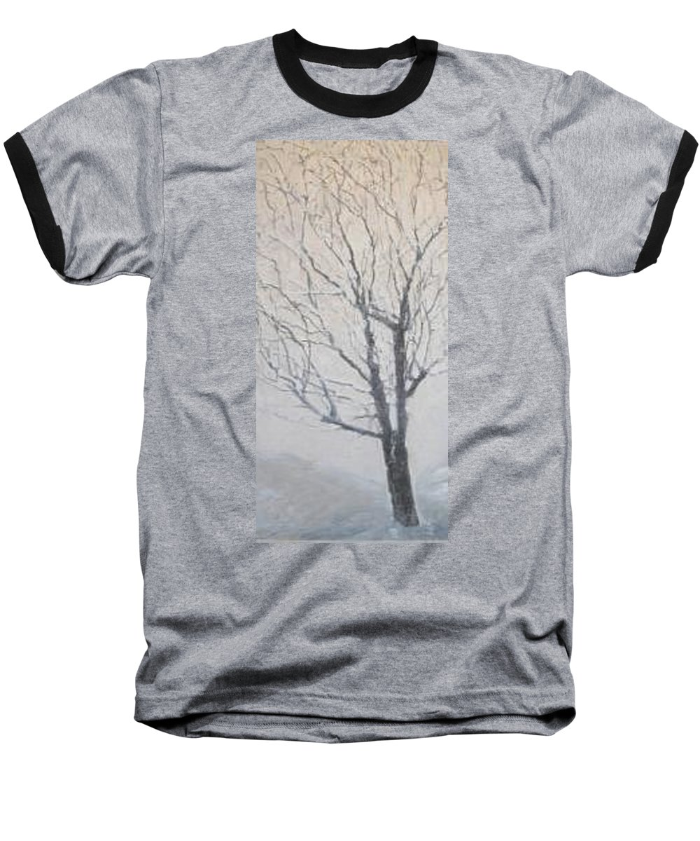 Tree Baseball T-Shirt featuring the painting Winter by Leah Tomaino