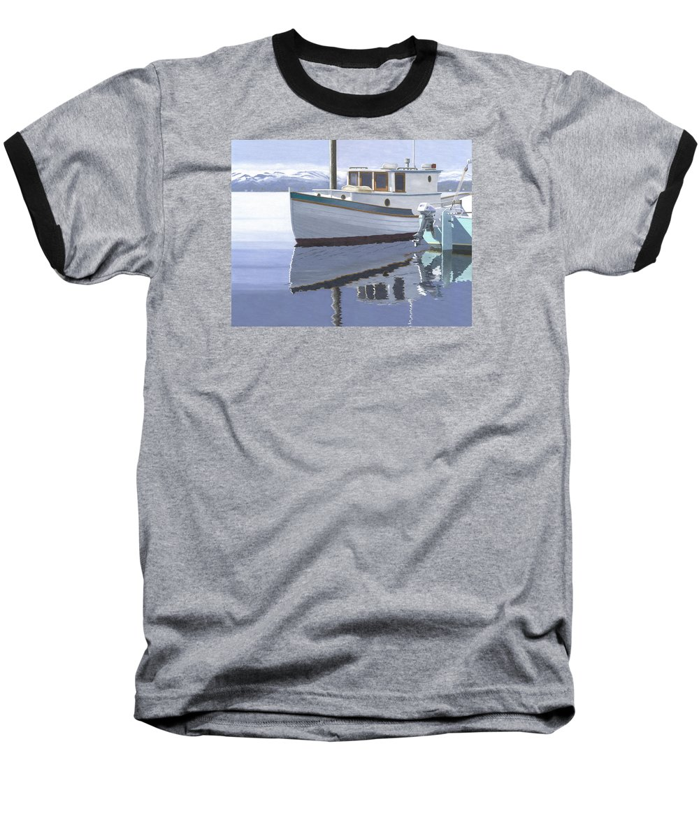 Marine Baseball T-Shirt featuring the painting Winter Moorage by Gary Giacomelli