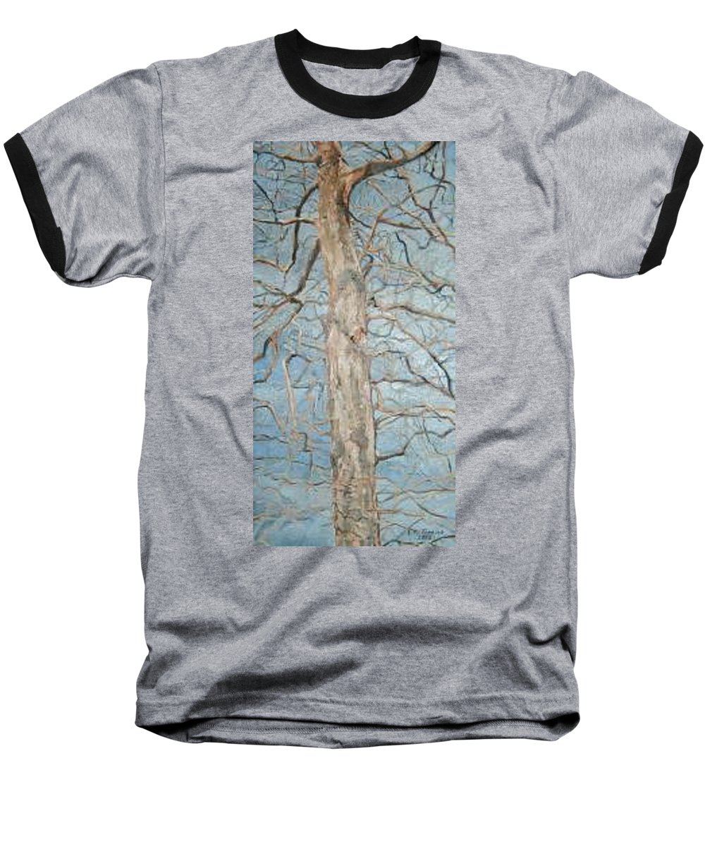Tree Baseball T-Shirt featuring the painting Winter Morning by Leah Tomaino