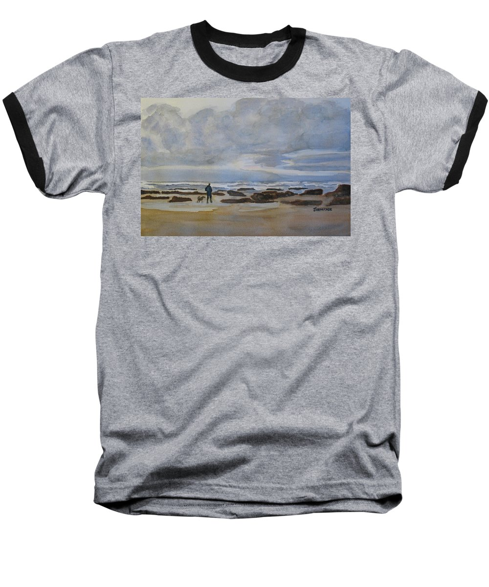 Beach Baseball T-Shirt featuring the painting Winter Morning Solitude II by Jenny Armitage