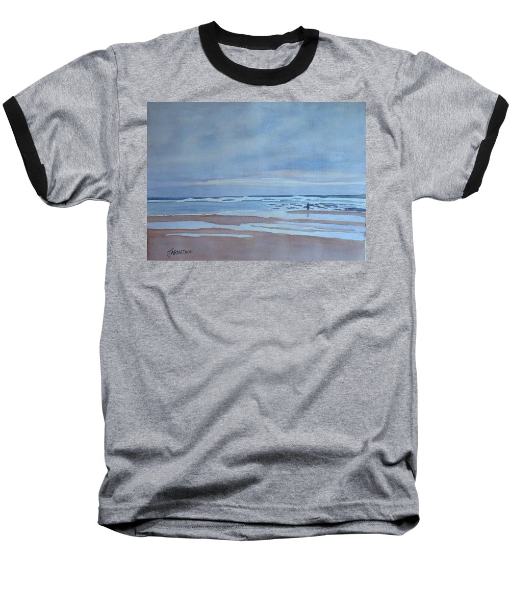 Ocean Baseball T-Shirt featuring the painting Winter Morning Solitude by Jenny Armitage