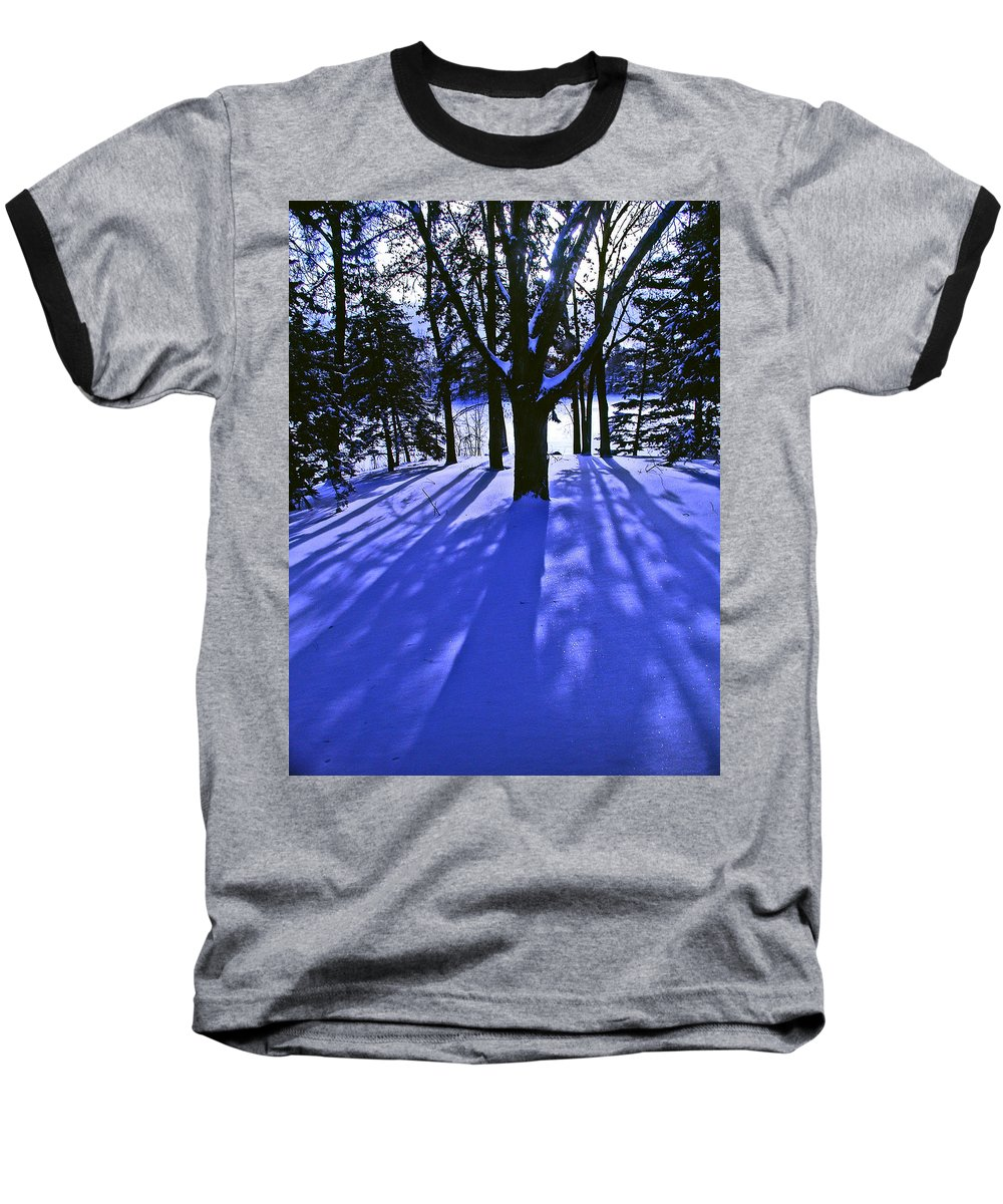 Landscape Baseball T-Shirt featuring the photograph Winter Shadows by Tom Reynen