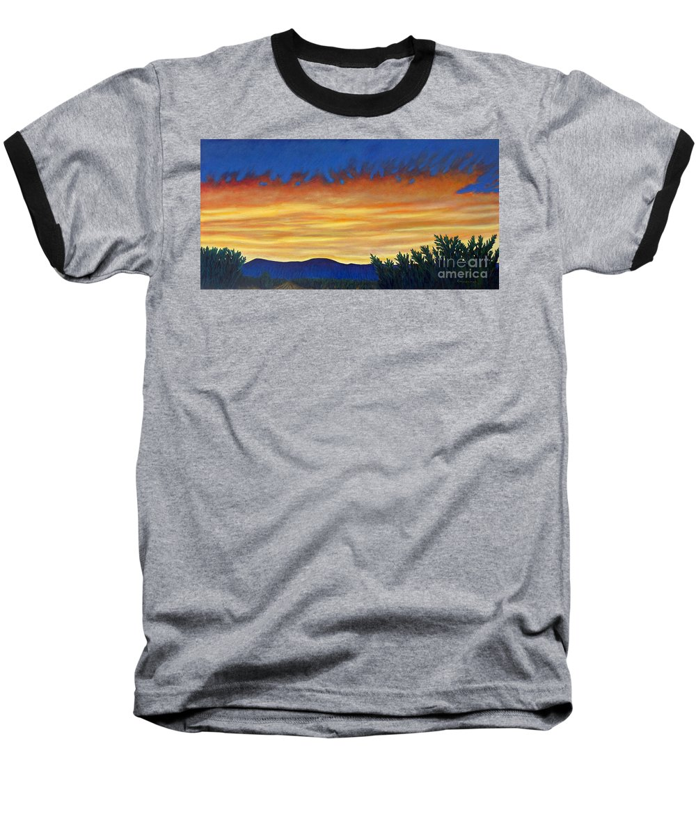 Sunset Baseball T-Shirt featuring the painting Winter Sunset In El Dorado by Brian Commerford