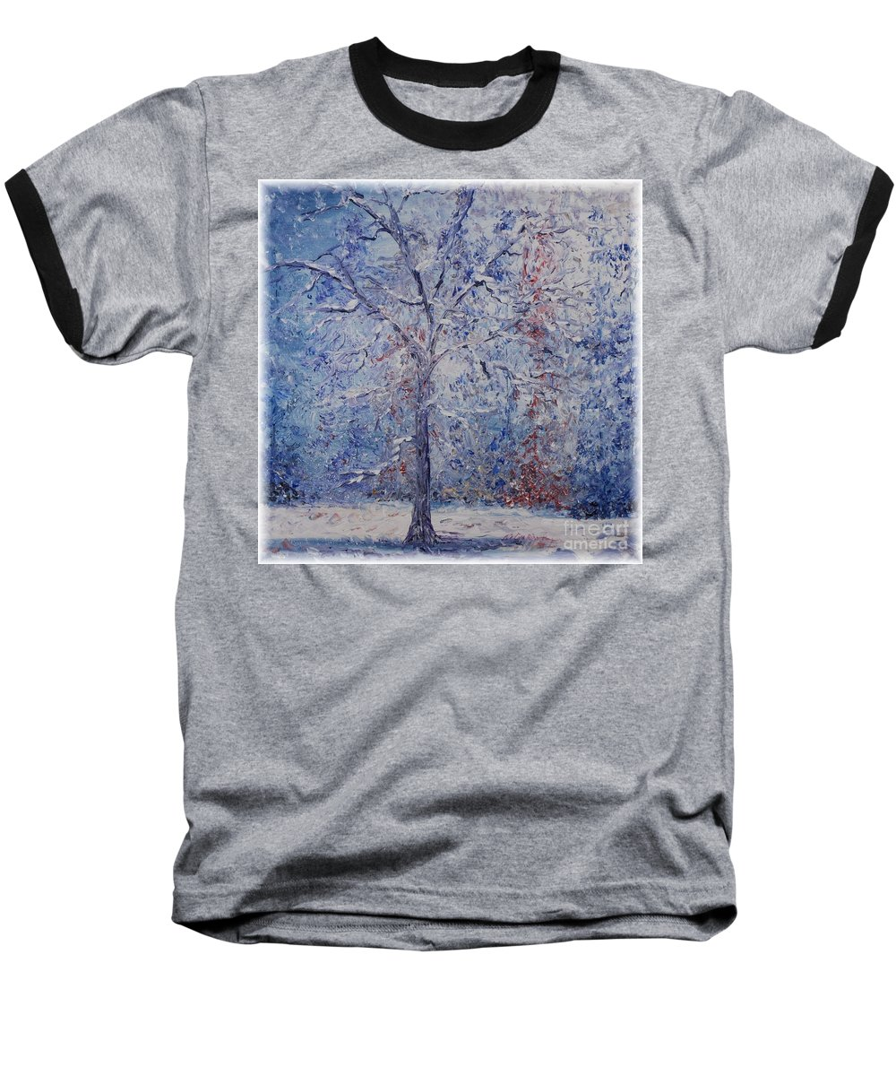 Winter Baseball T-Shirt featuring the painting Winter Trees by Nadine Rippelmeyer