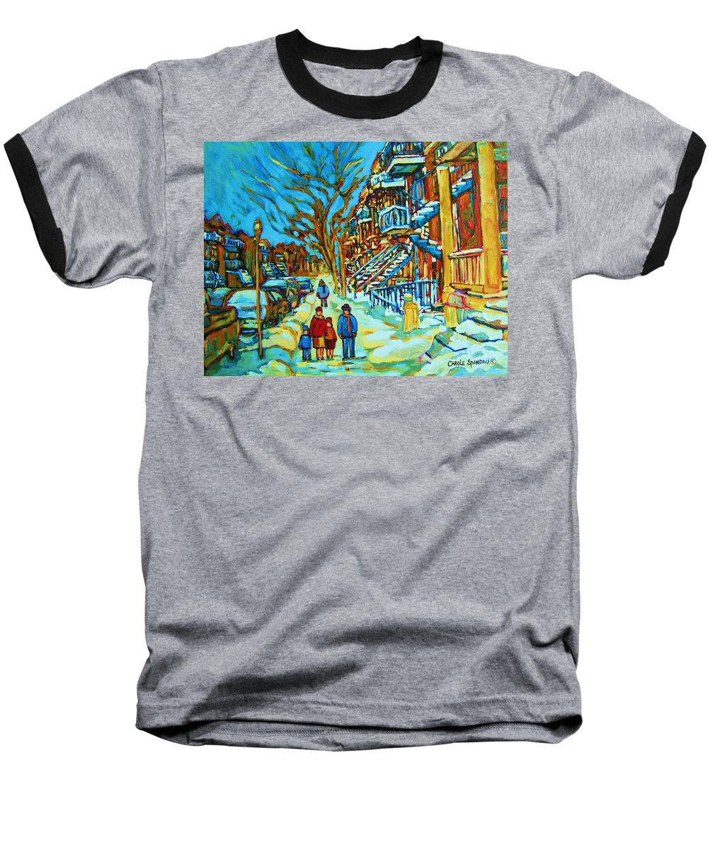 Winterscenes Baseball T-Shirt featuring the painting Winter Walk In The City by Carole Spandau