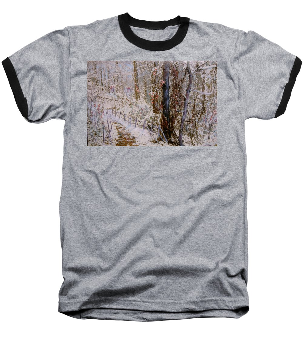 Snow; Trees Baseball T-Shirt featuring the painting Winter Wonderland by Ben Kiger