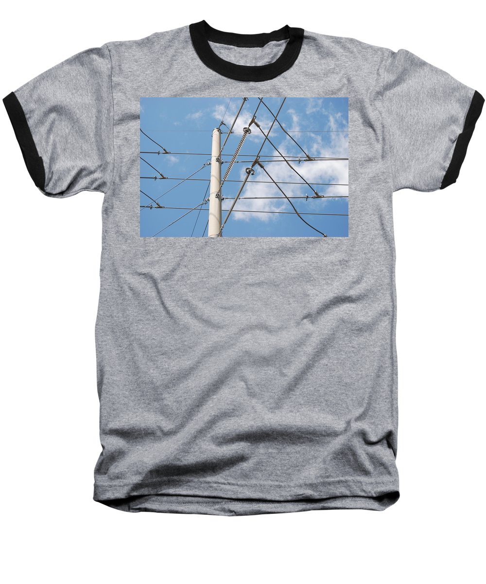Sky Baseball T-Shirt featuring the photograph Wired Sky by Rob Hans