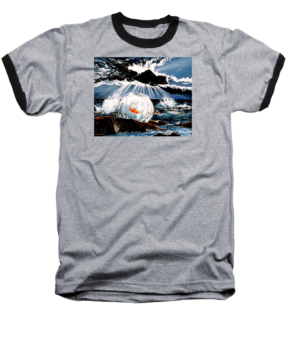 Surreal Baseball T-Shirt featuring the painting Wish You Were Here by Mark Cawood