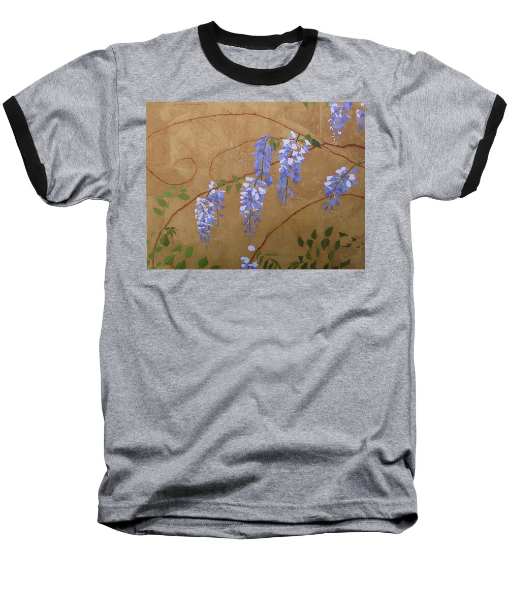 Periwinkle Wisteria Flowers Baseball T-Shirt featuring the painting Wisteria by Leah Tomaino