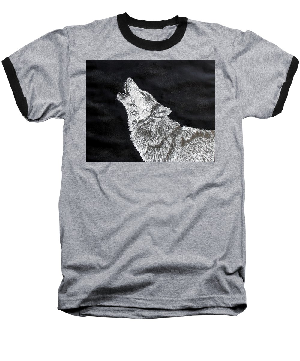 Pencil Baseball T-Shirt featuring the drawing Wolf Howl by Stan Hamilton