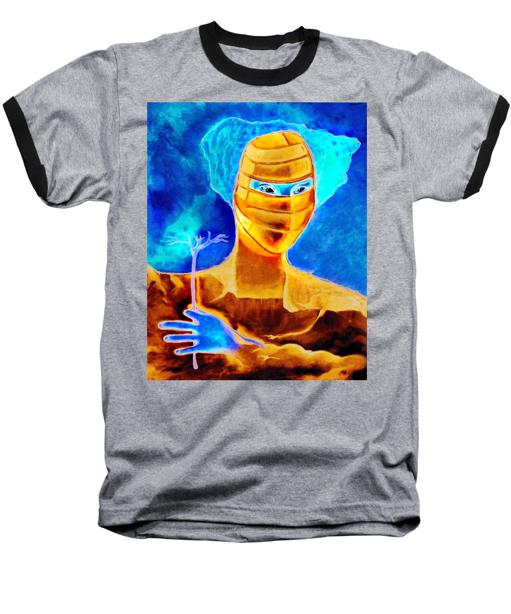 Blue Woman Mask Mistery Eyes Baseball T-Shirt featuring the painting Woman In The Blue Mask by Veronica Jackson