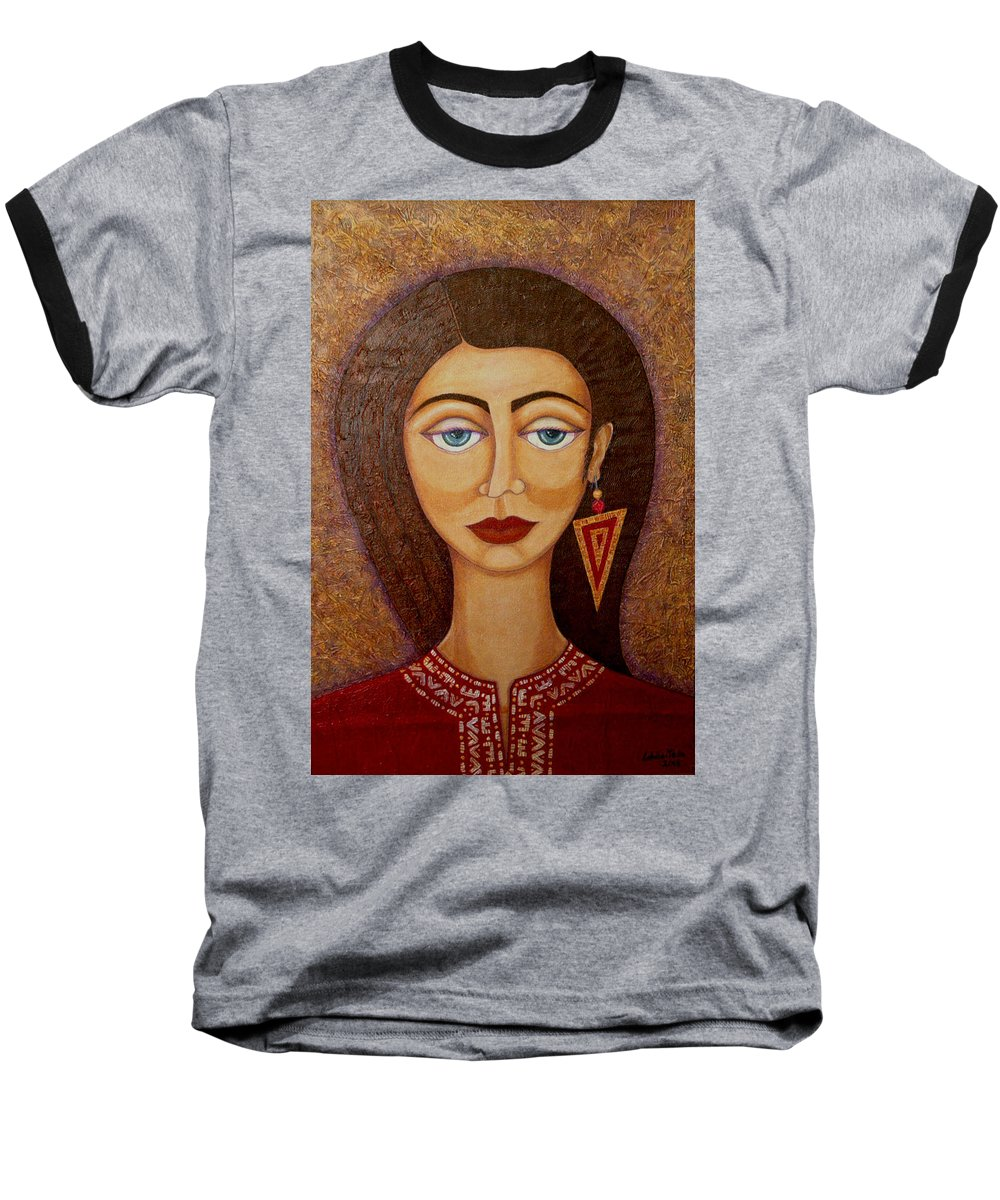 Market Baseball T-Shirt featuring the painting Woman S Market by Madalena Lobao-Tello