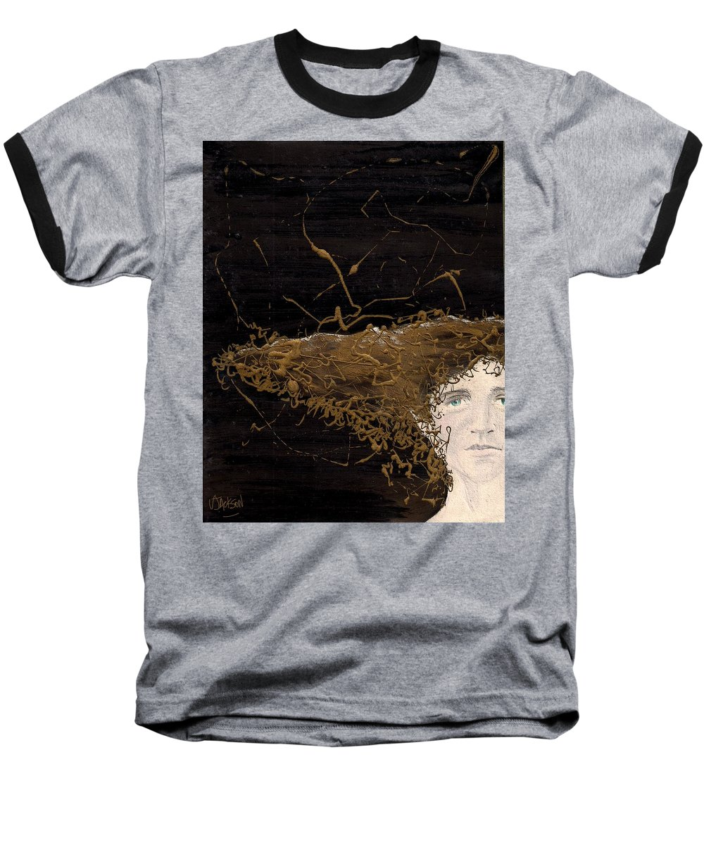 Hair Gold Woman Face Eyes Softness Baseball T-Shirt featuring the mixed media Woman With Beautiful Hair by Veronica Jackson