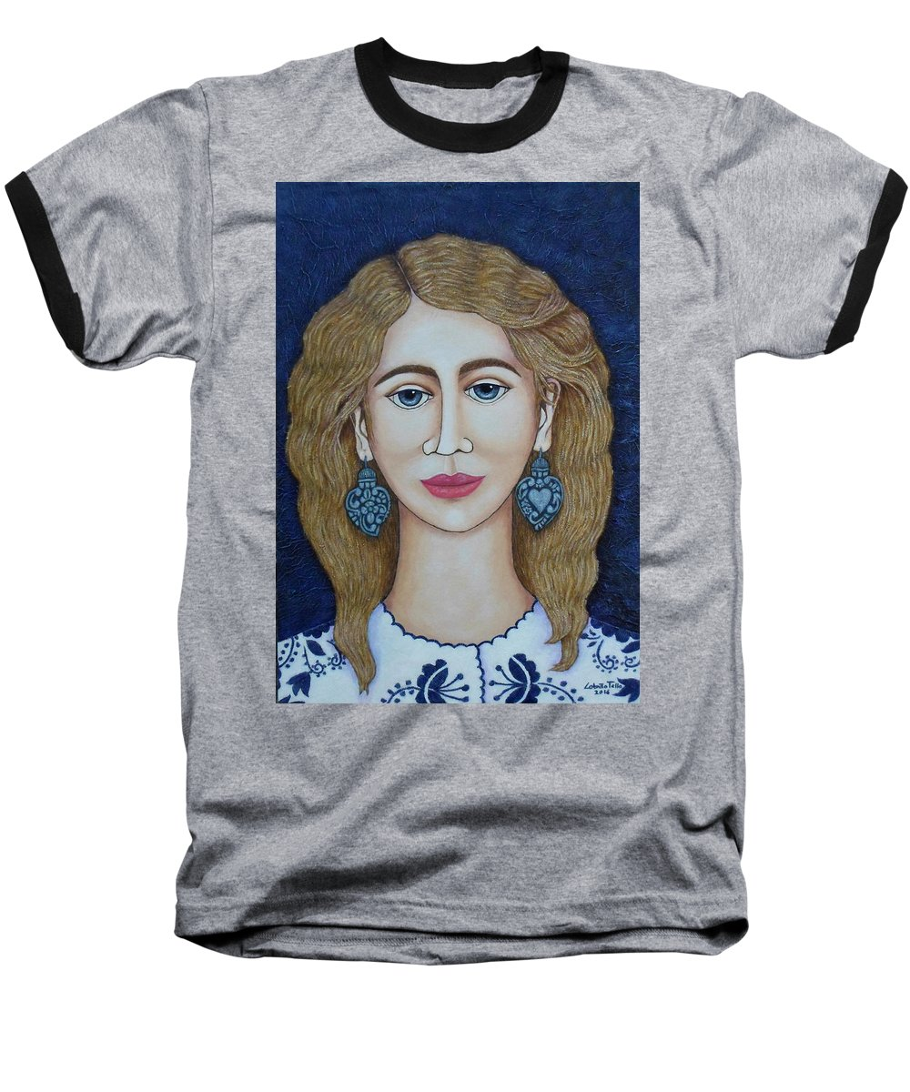 Woman Baseball T-Shirt featuring the painting Woman With Silver Earrings by Madalena Lobao-Tello