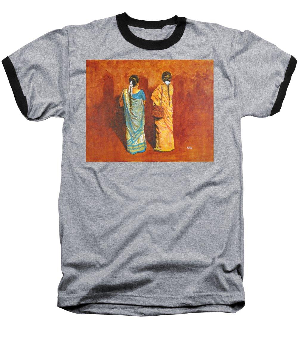 Women Baseball T-Shirt featuring the painting Women In Sarees by Usha Shantharam