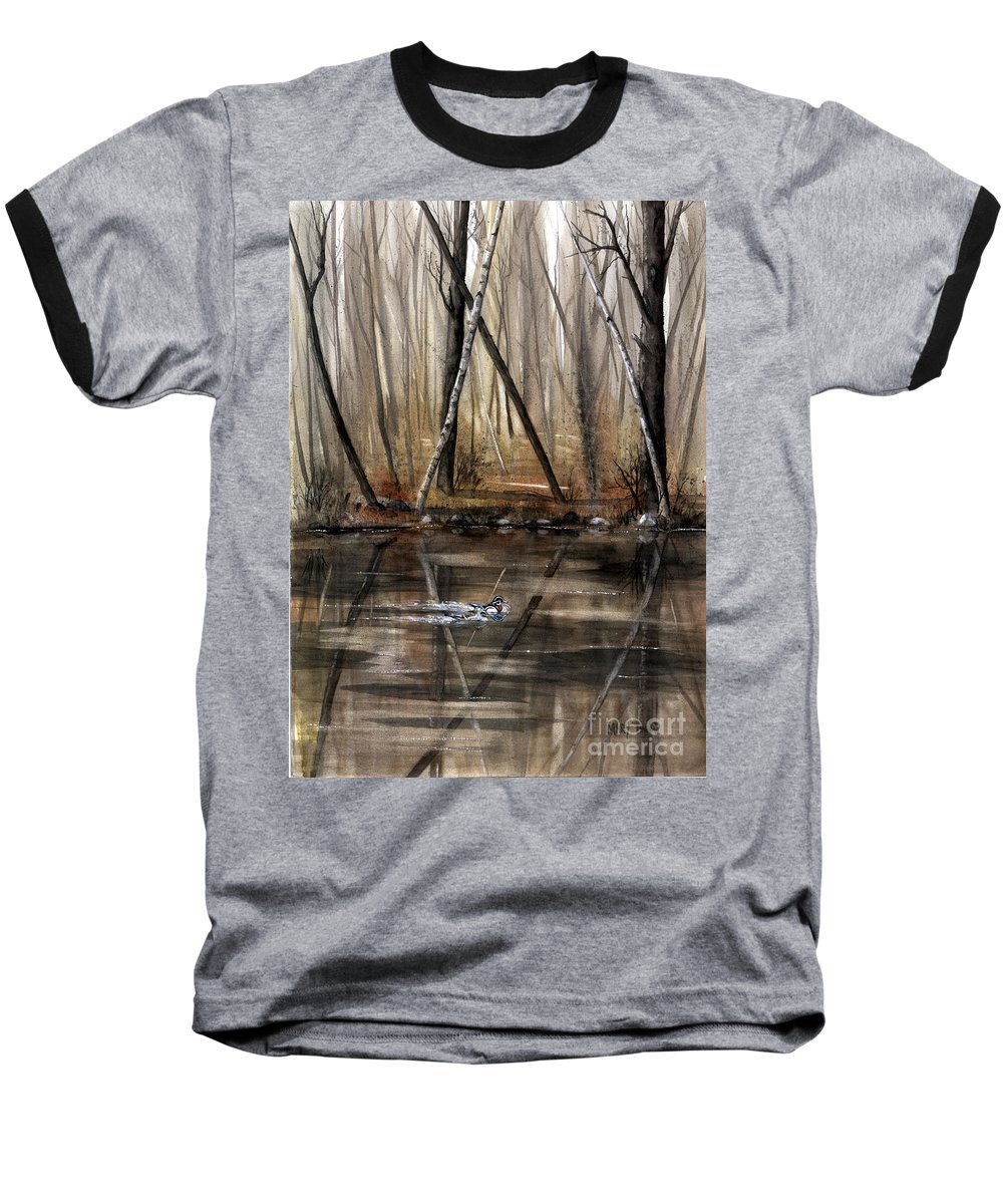 Nature Baseball T-Shirt featuring the painting Wood Duck On Pond by Mary Tuomi