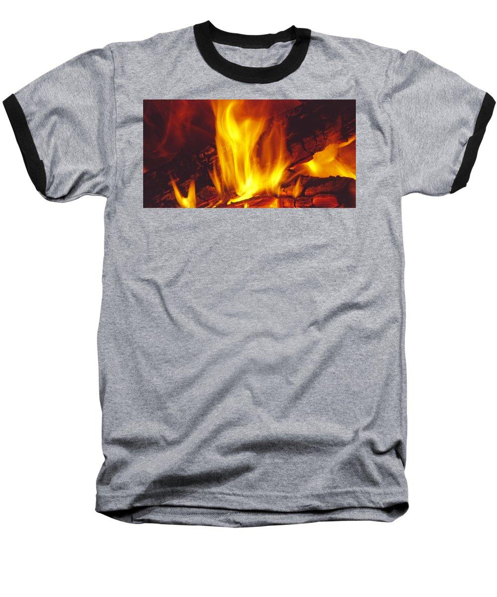 Fire Baseball T-Shirt featuring the photograph Wood Stove - Blazing Log Fire by Steve Ohlsen