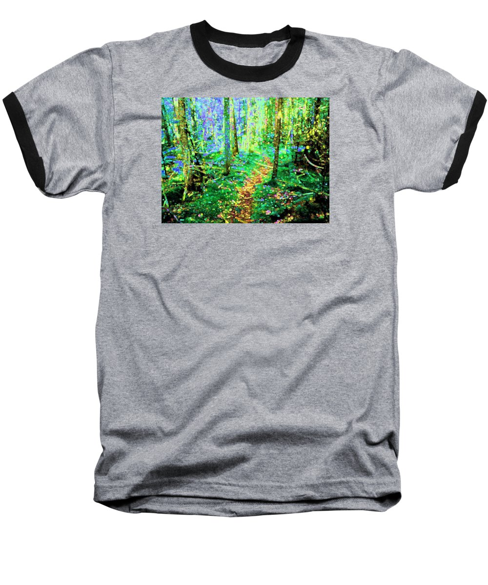Nature Baseball T-Shirt featuring the digital art Wooded Trail by Dave Martsolf