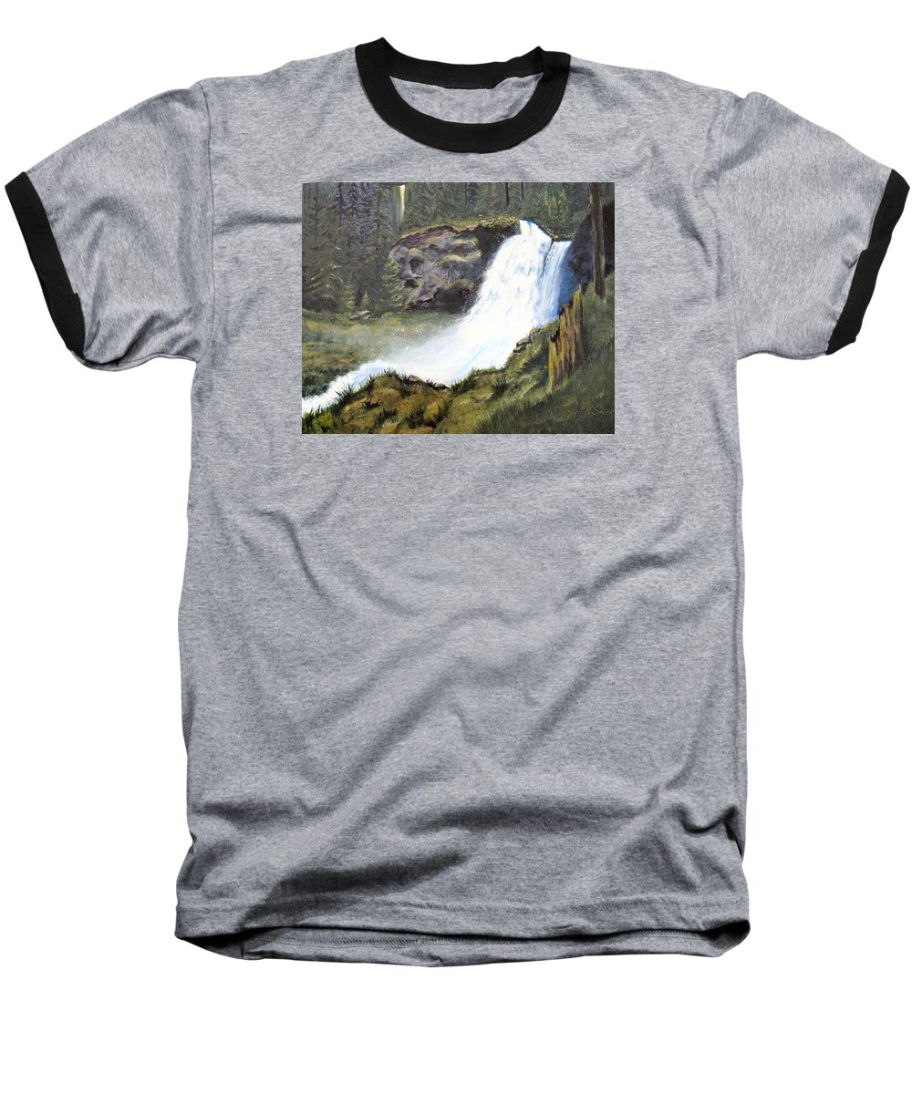 Forest Baseball T-Shirt featuring the painting Woodland Respite by Karen Stark