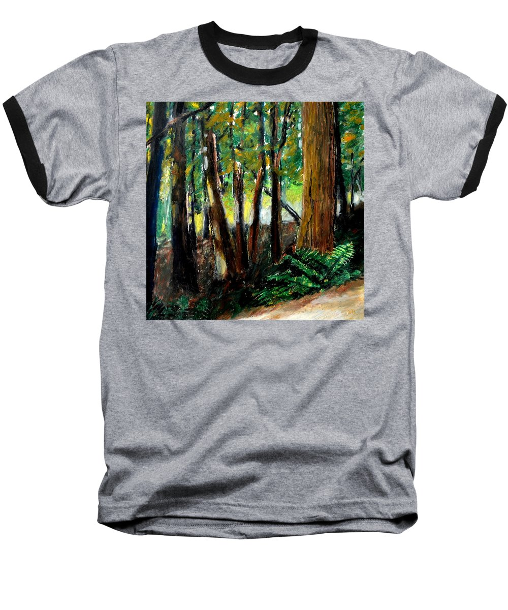 Livingston Trail Baseball T-Shirt featuring the drawing Woodland Trail by Michelle Calkins