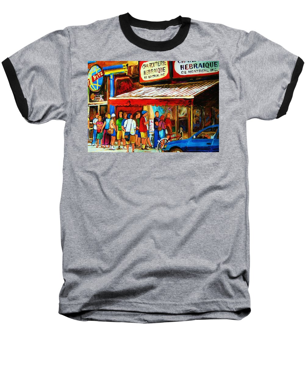 Montreal Streetscenes Baseball T-Shirt featuring the painting Worth The Wait by Carole Spandau