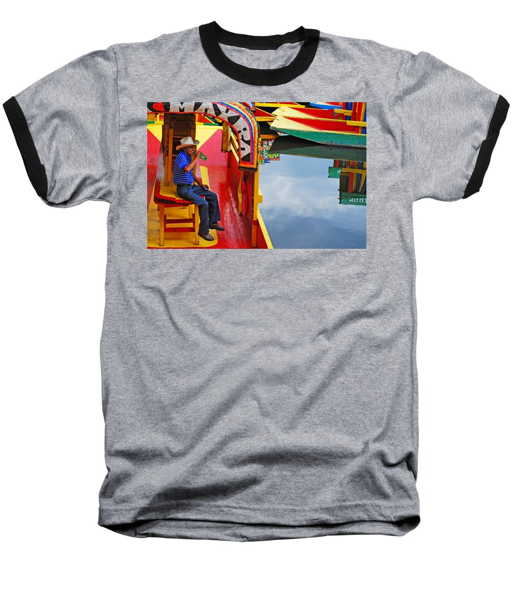 Skip Hunt Baseball T-Shirt featuring the photograph Xochimilco by Skip Hunt