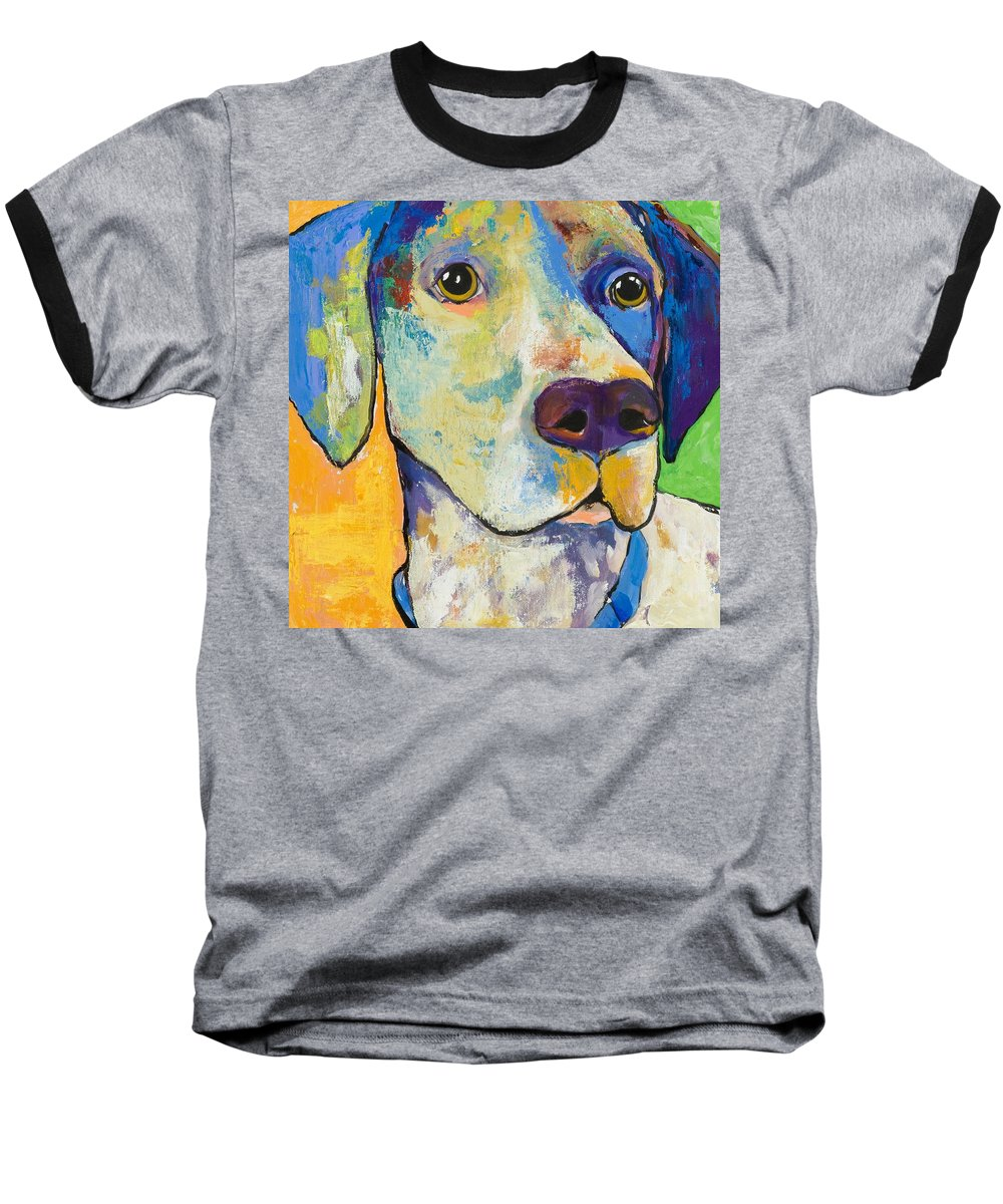 German Shorthair Animalsdog Blue Yellow Acrylic Canvas Baseball T-Shirt featuring the painting Yancy by Pat Saunders-White