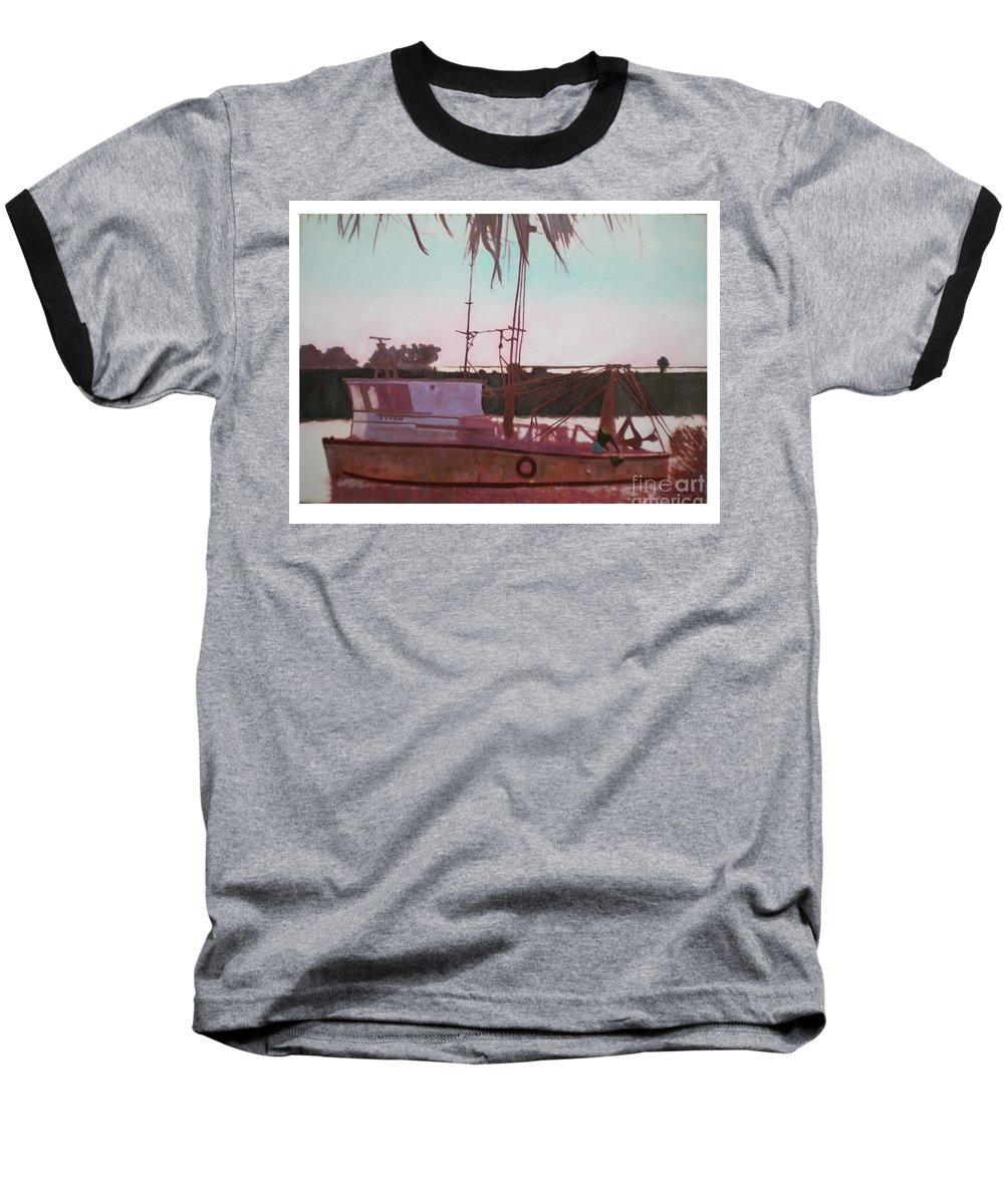Seascape Baseball T-Shirt featuring the digital art Yankee Town Fishing Boat by Hal Newhouser