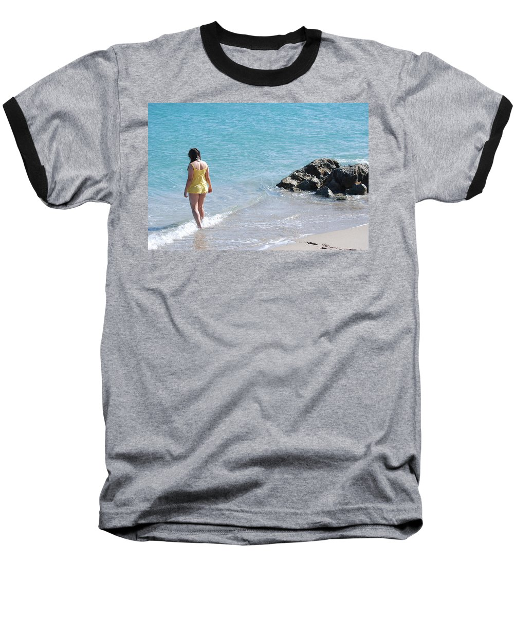 Sea Scape Baseball T-Shirt featuring the photograph Yellow And Blue by Rob Hans