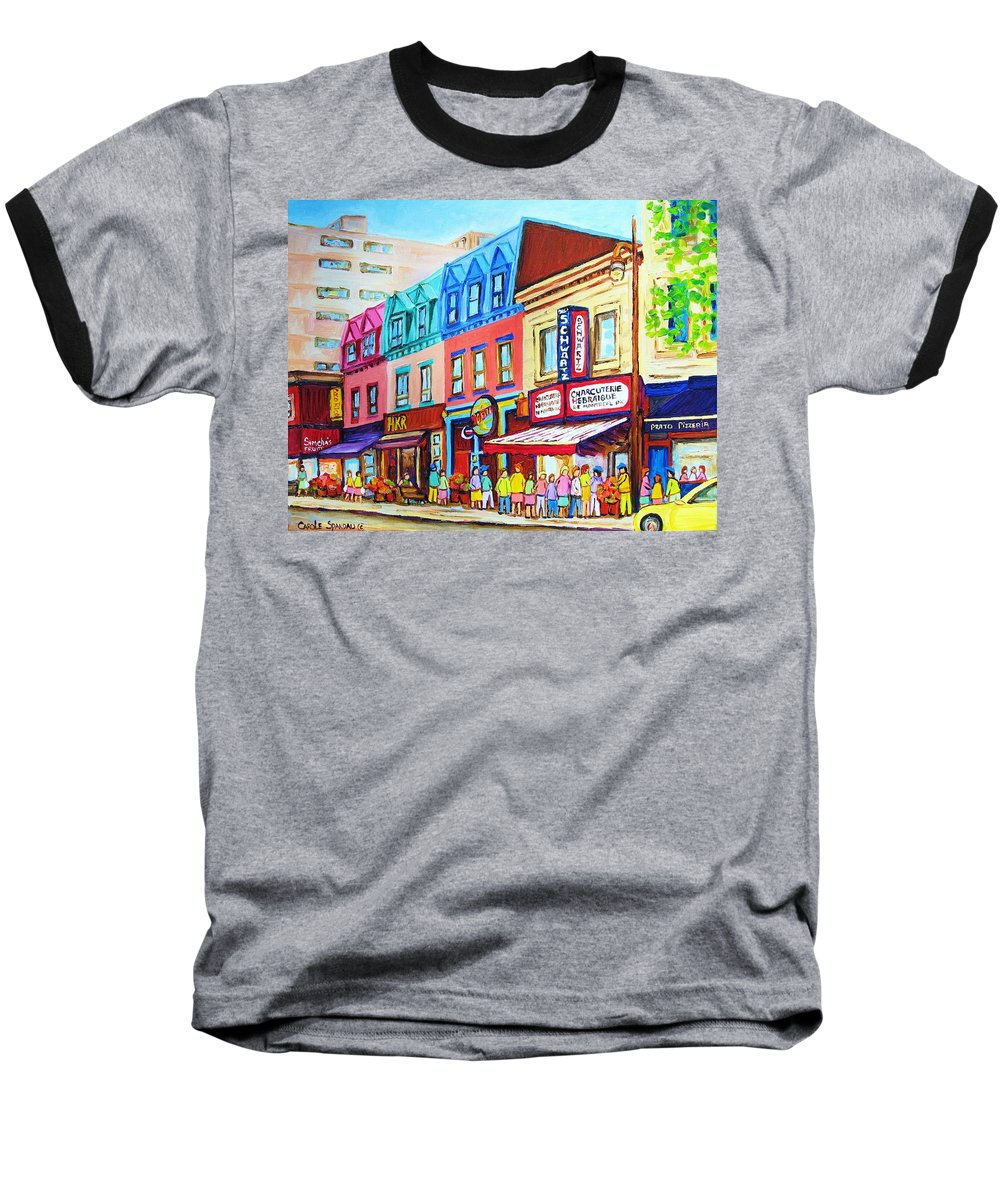 Reastarant Baseball T-Shirt featuring the painting Yellow Car At The Smoked Meat Lineup by Carole Spandau