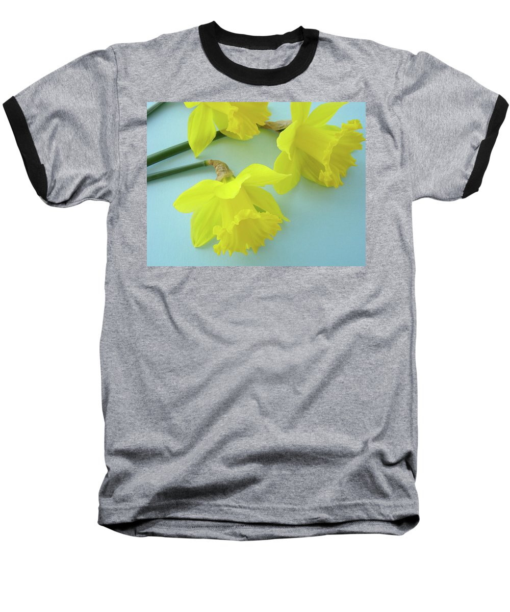 �daffodils Artwork� Baseball T-Shirt featuring the photograph Yellow Daffodils Artwork Spring Flowers Art Prints Nature Floral Art by Baslee Troutman
