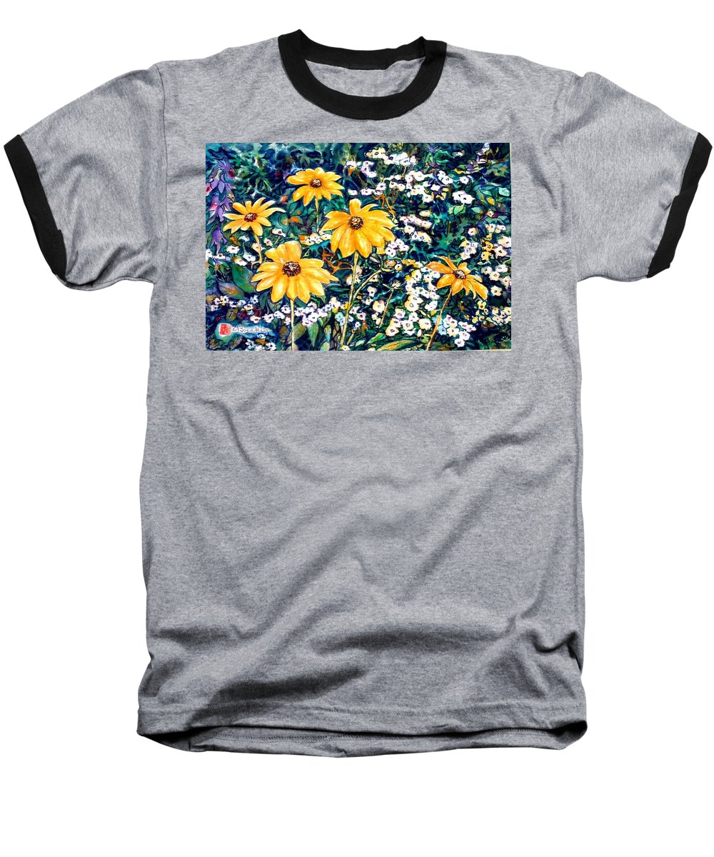 Daisies Baseball T-Shirt featuring the painting Yellow Daisies by Norma Boeckler