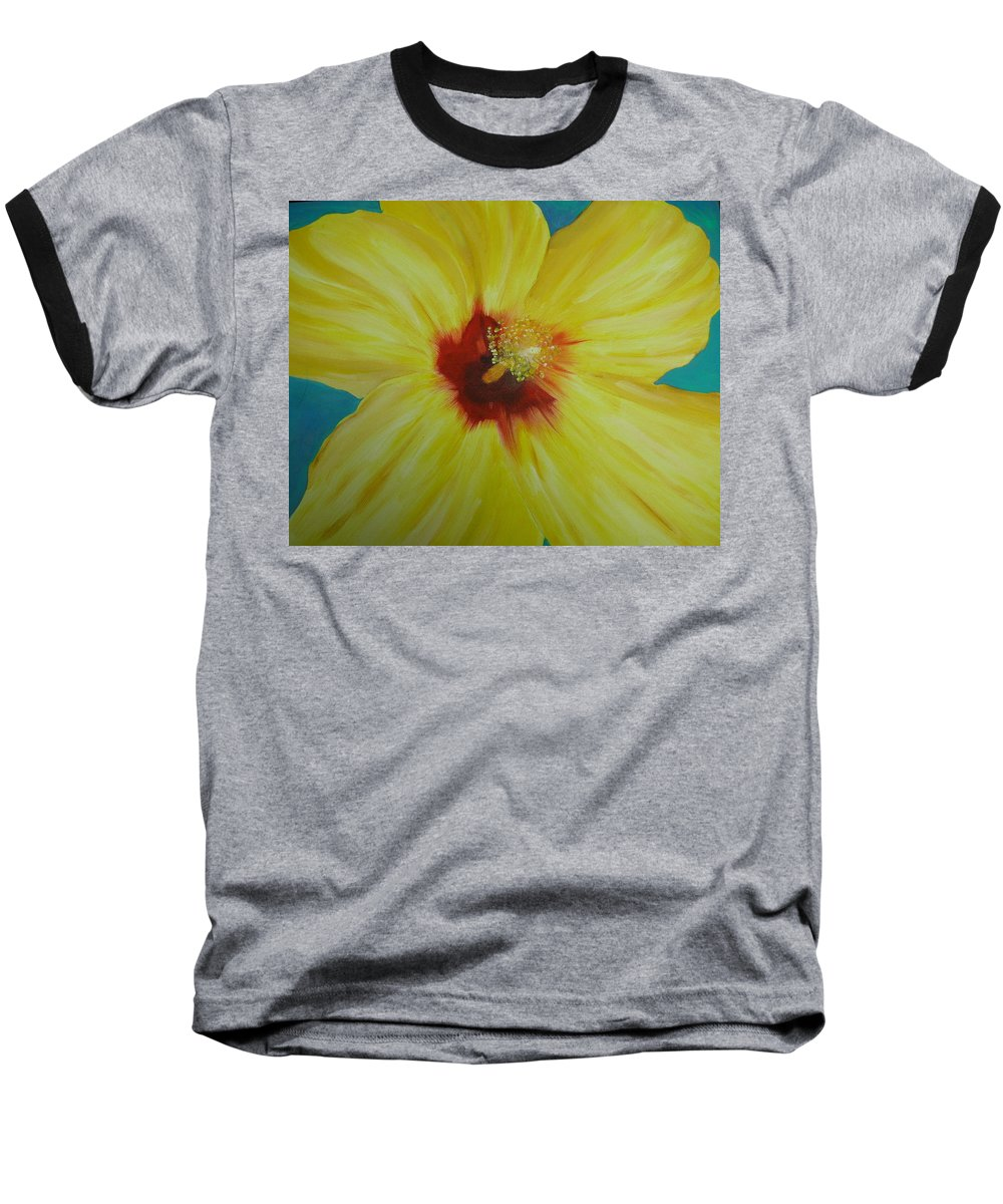 Flower Baseball T-Shirt featuring the print Yellow Hibiscus by Melinda Etzold