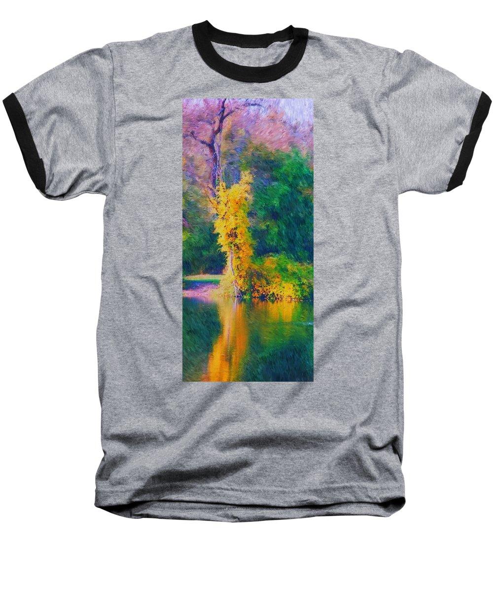 Digital Landscape Baseball T-Shirt featuring the digital art Yellow Reflections by David Lane