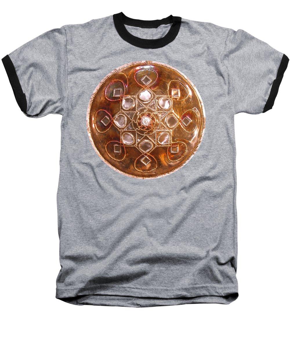 Copper Baseball T-Shirt featuring the sculpture Yesirah Copper Lightmandala by Robert Thalmeier