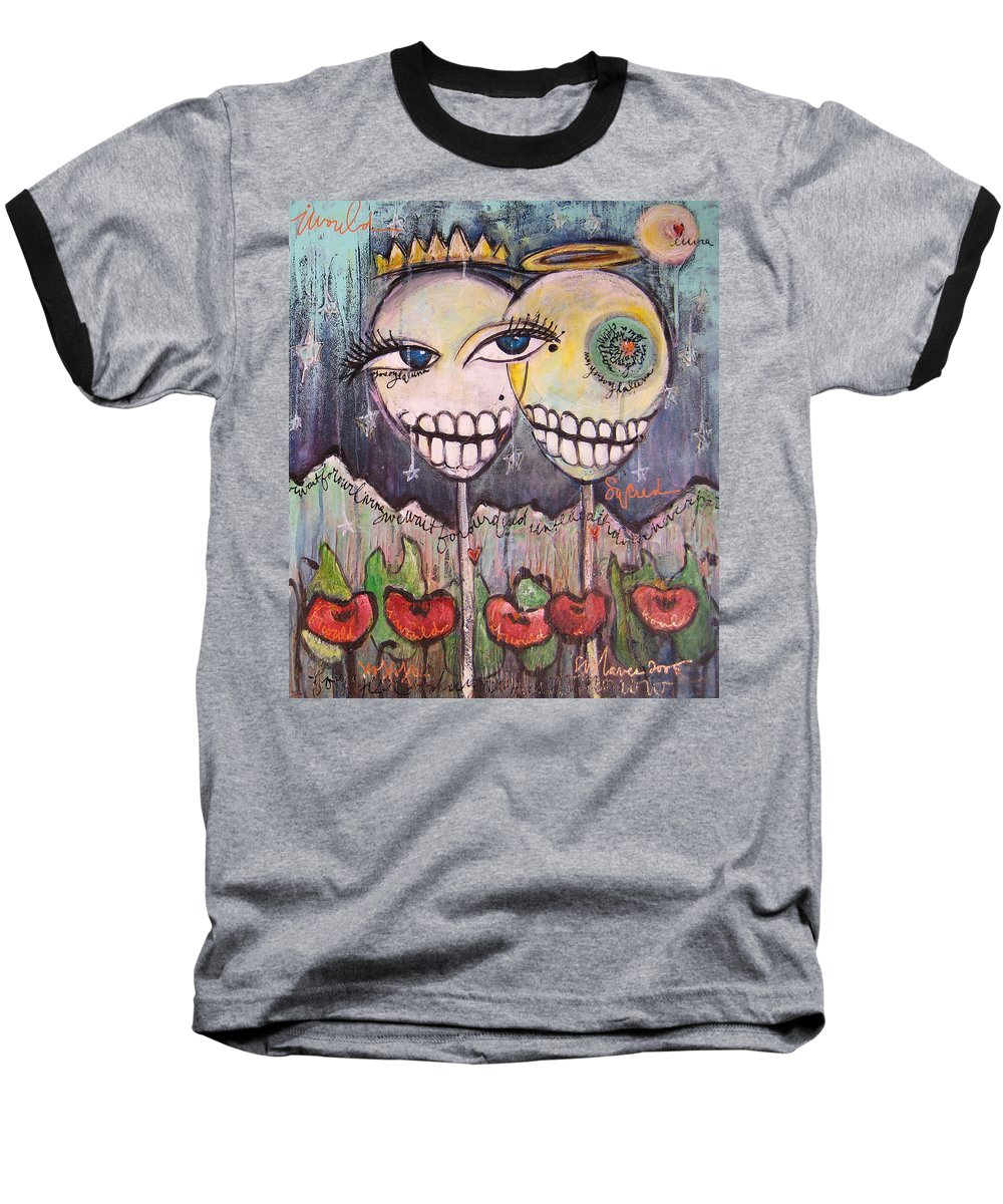 Skull Heads Baseball T-Shirt featuring the painting Yo Soy La Luna by Laurie Maves ART