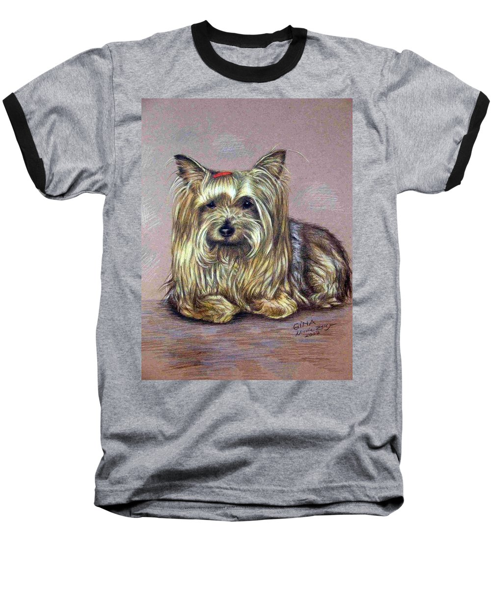 Dog Baseball T-Shirt featuring the drawing Yorkshire Terrier by Nicole Zeug