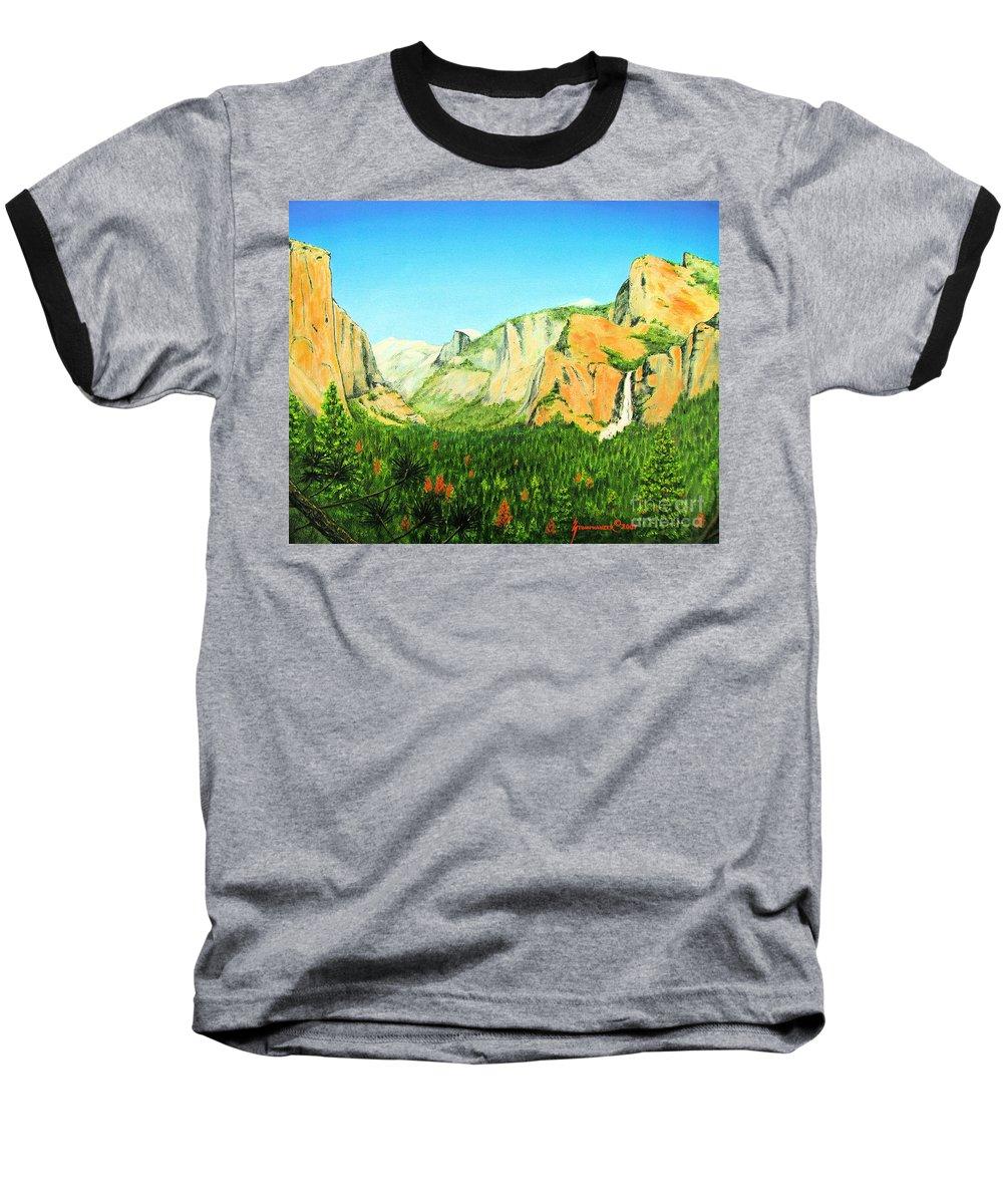 Yosemite National Park Baseball T-Shirt featuring the painting Yosemite National Park by Jerome Stumphauzer