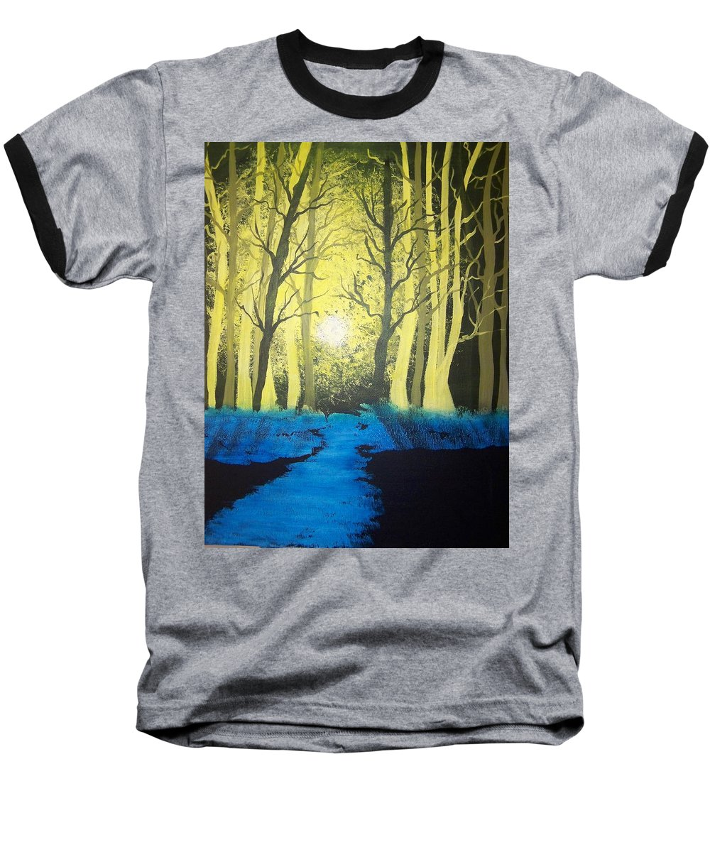 Forest Baseball T-Shirt featuring the painting You Cant See The Forest For The Trees by Laurie Kidd