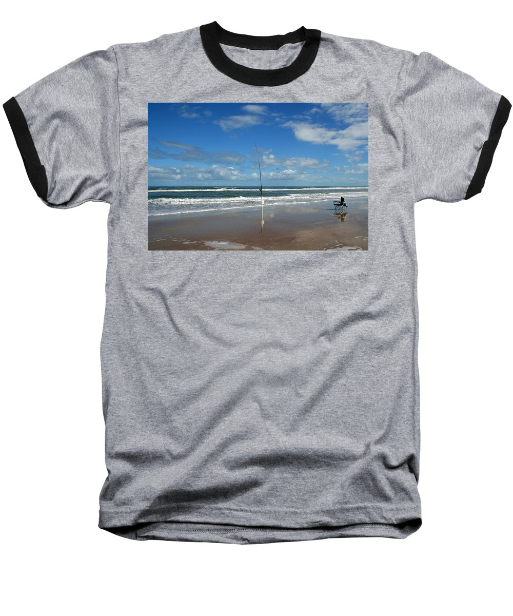 Fish Fishing Vacation Beach Surf Shore Rod Pole Chair Blue Sky Ocean Waves Wave Sun Sunny Bright Baseball T-Shirt featuring the photograph You Could Have Been There by Andrei Shliakhau