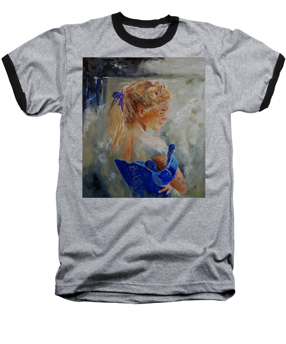 Gir Baseball T-Shirt featuring the painting Young Girl 78 by Pol Ledent