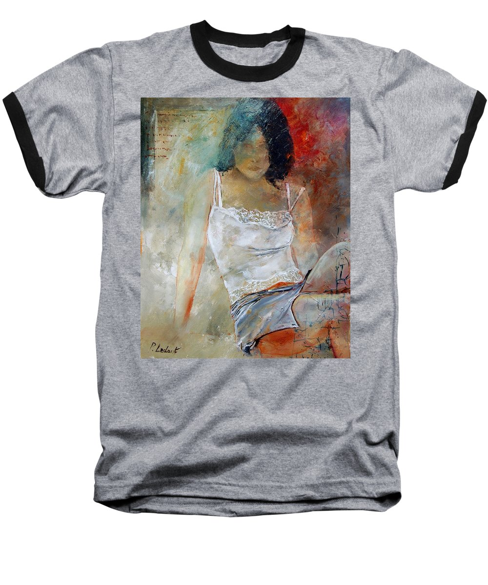 Nude Baseball T-Shirt featuring the painting Young Girl Sitting by Pol Ledent