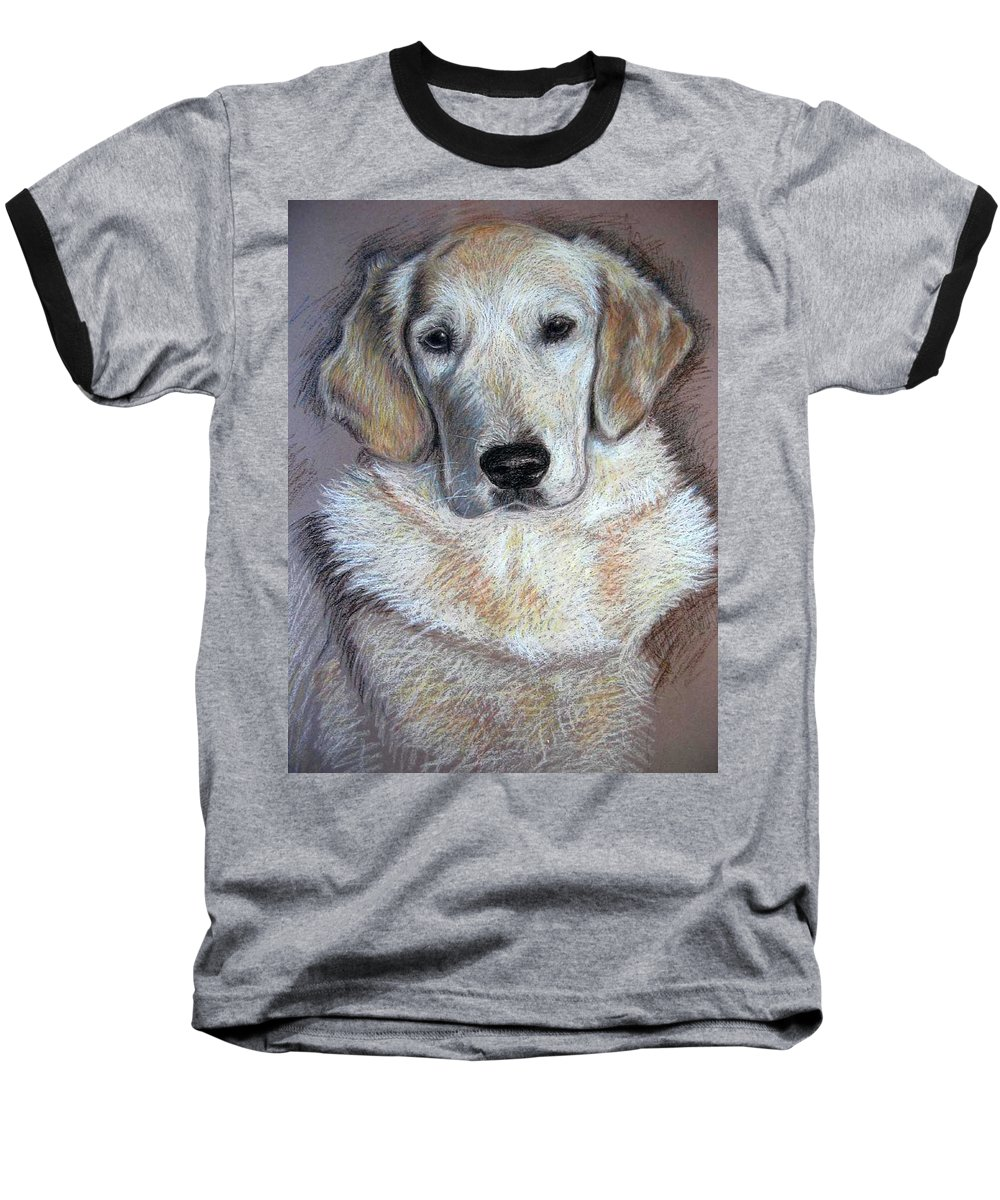 Dog Baseball T-Shirt featuring the pastel Young Golden Retriever by Nicole Zeug